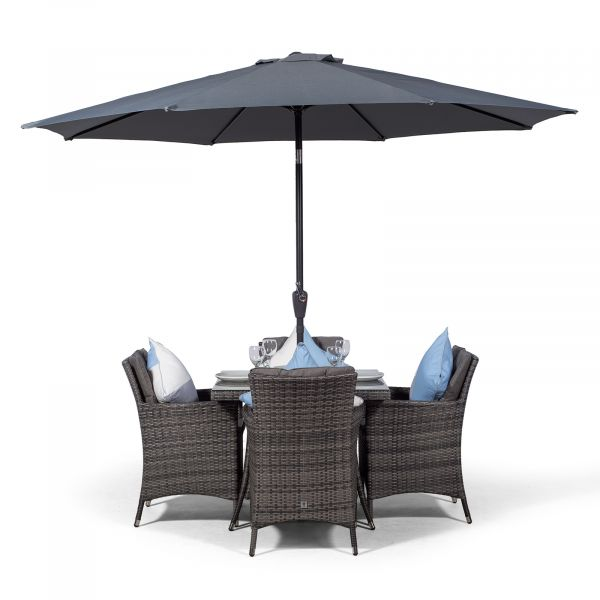 Savannah 90cm Square 4 Seater Rattan Dining Set with Drinks Cooler - Grey