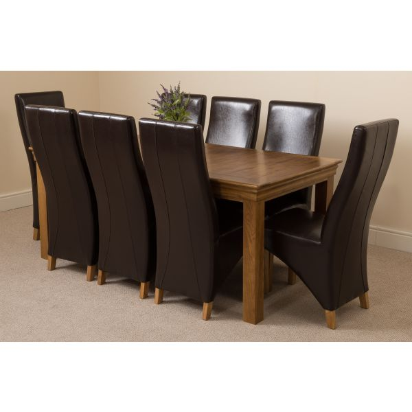 French Chateau Rustic Solid Oak 180cm Dining Table with 8 Lola Dining Chairs [Black Leather]