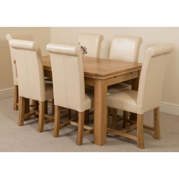 Richmond Solid Oak 140cm-220cm Extending Dining Table with 6 Washington Dining Chairs [Ivory Leather]
