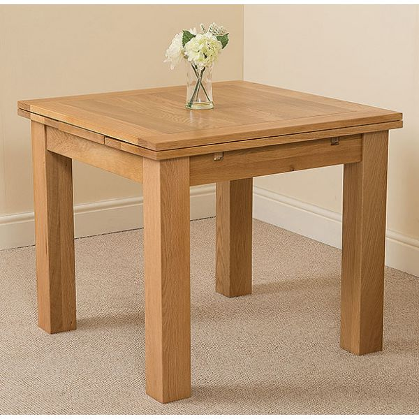 Richmond Solid Oak 90cm-150cm Extending Dining Table with 6 Washington Dining Chairs [Ivory Leather]