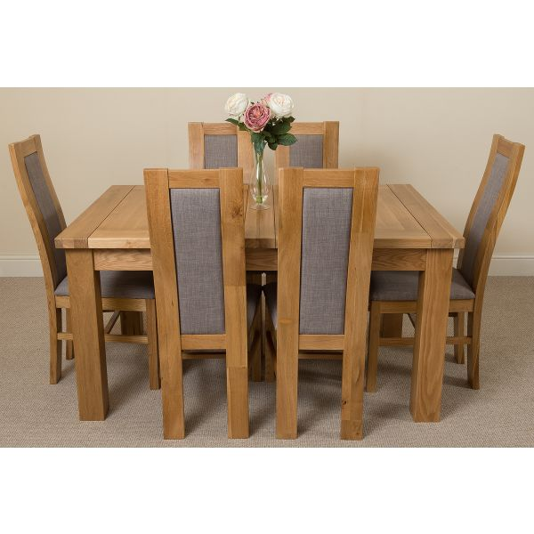 Seattle Solid Oak 150cm-210cm Extending Dining Table with 6 Stanford Solid Oak Dining Chairs [Light Oak and Grey Fabric]