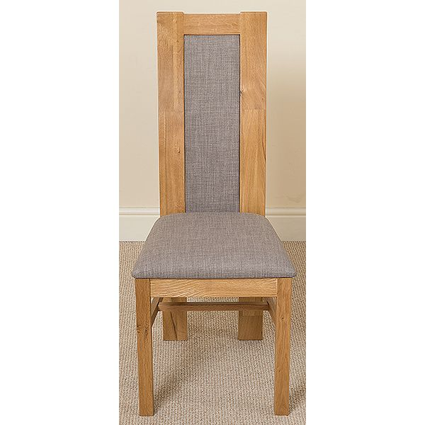 Edmonton Solid Oak Extending Oval Dining Table with 6 Stanford Solid Oak Dining Chairs [Light Oak and Gray Fabric]