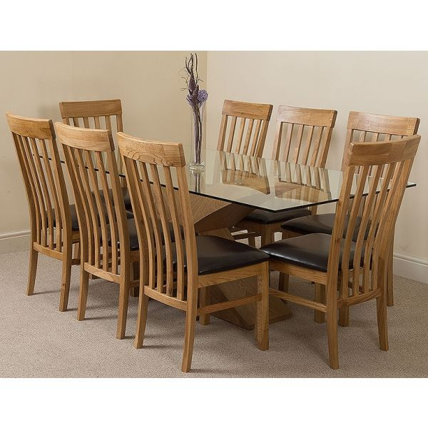 Valencia Oak Large 200cm Wood and Glass Dining Table with 8 Harvard Solid Oak Dining Chairs [Light Oak and Brown Leather]