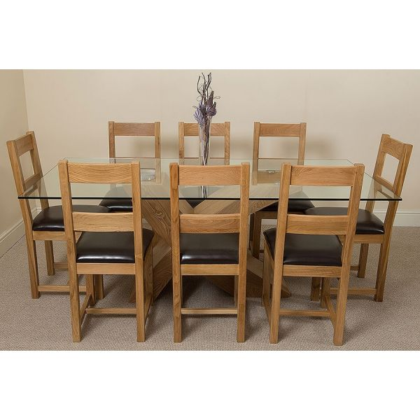 Valencia Oak Large 200cm Wood and Glass Dining Table with 8 Lincoln Solid Oak Dining Chairs [Light Oak and Brown Leather]