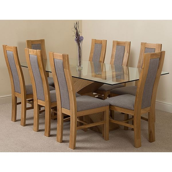 Valencia Oak Large 200cm Wood and Glass Dining Table with 8 Stanford Solid Oak Dining Chairs [Light Oak and Grey Fabric]