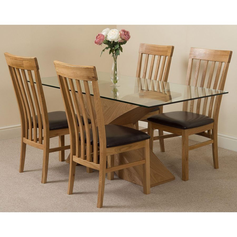 Valencia Oak Small Glass Dining Table 4 Harvard Oak Chairs