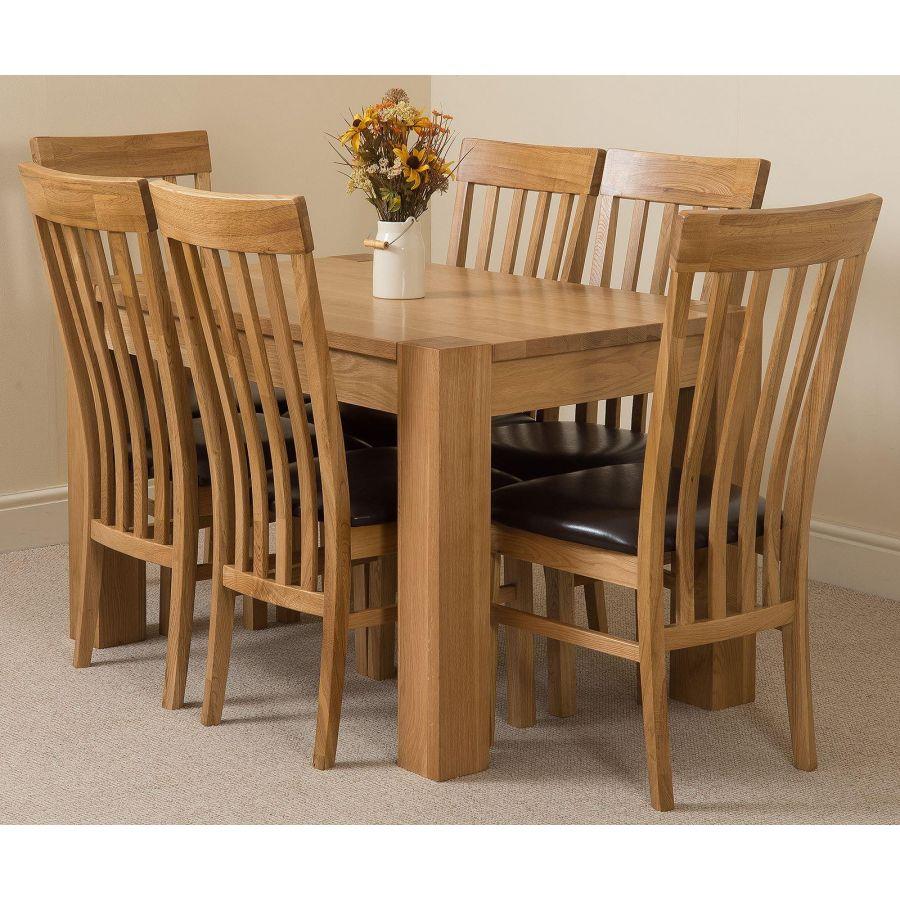 Kuba Small Dining Set 6 Harvard Chairs Oak Furniture King