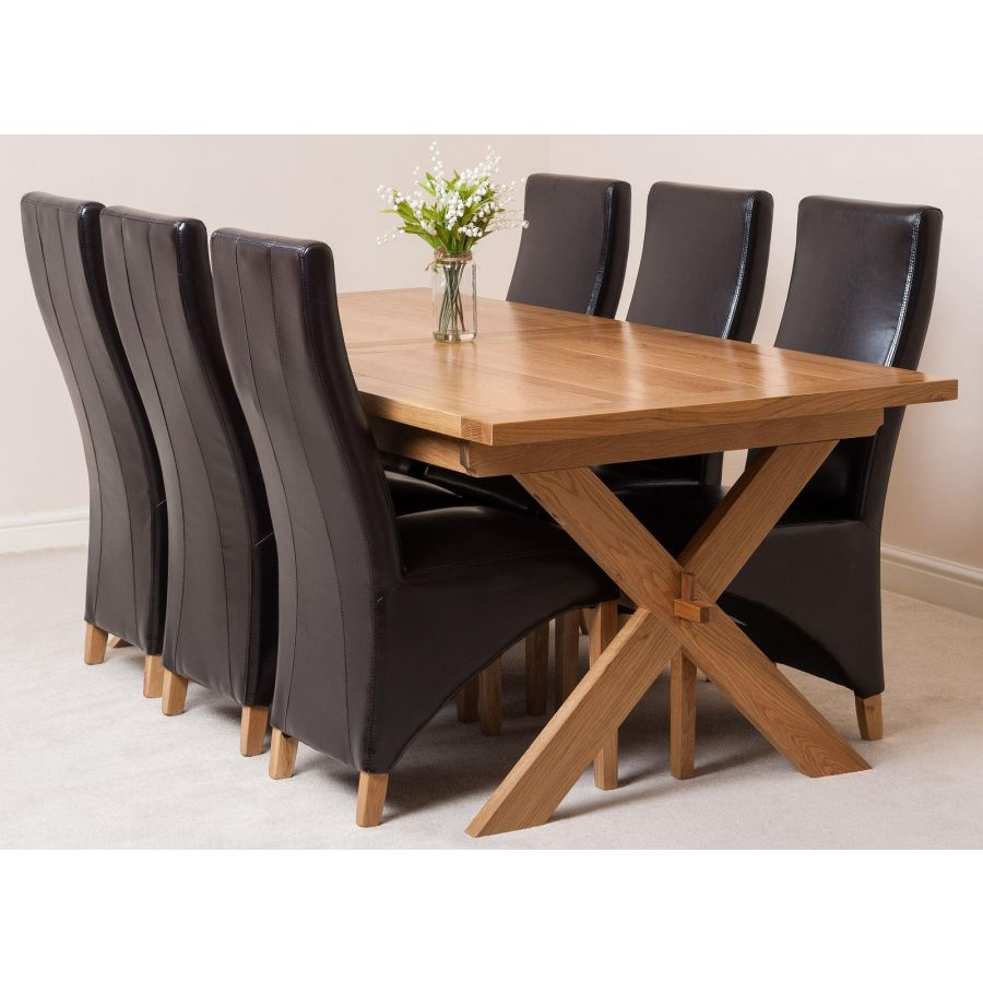 Vermont Cross Leg Oak Extending Dining Table with 9 Lola Brown Leather  Dining Chairs