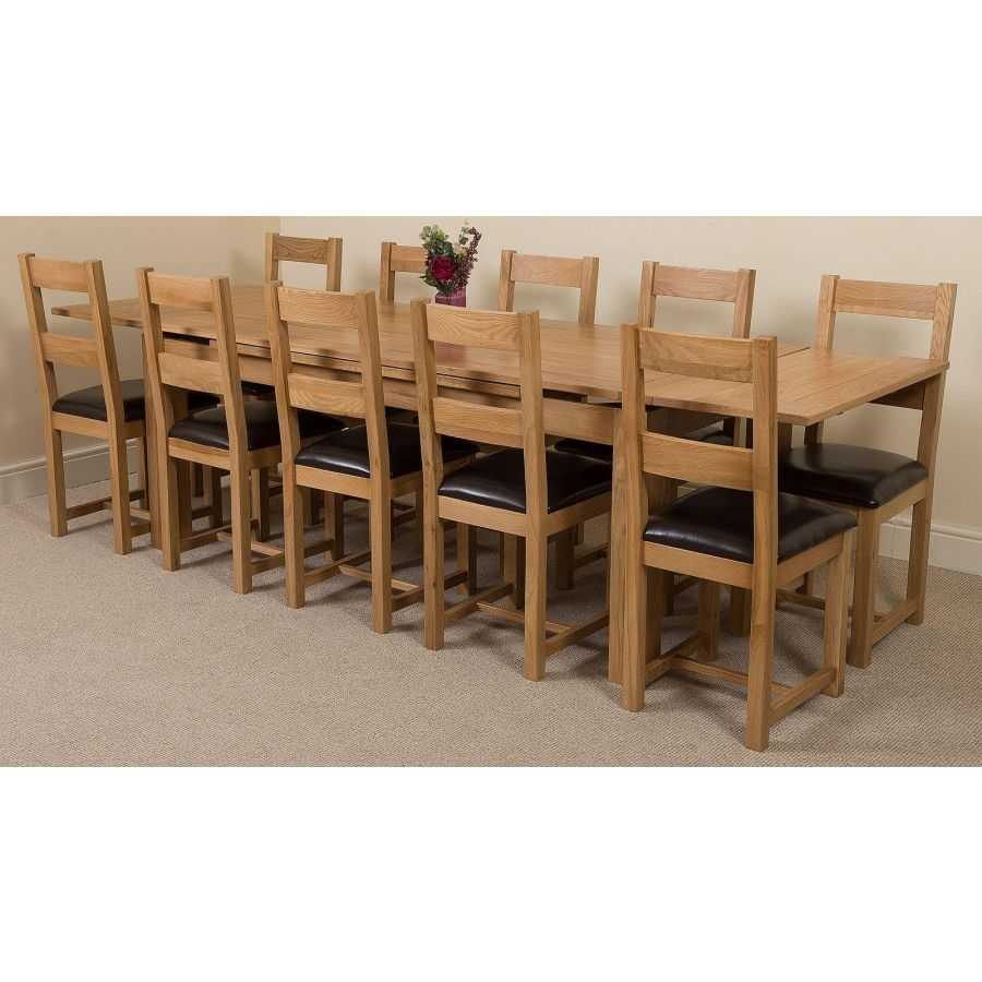 Richmond Large Oak Dining Set 10 Lincoln Chairs