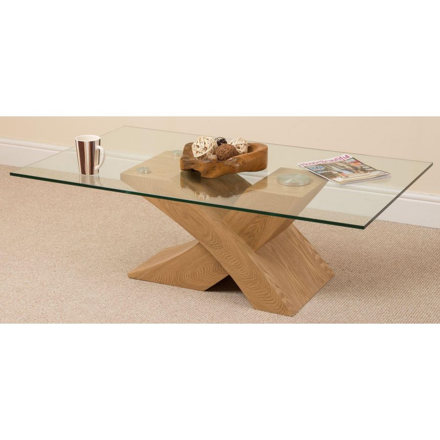 Milano Coffee Table Glass And Solid Oak