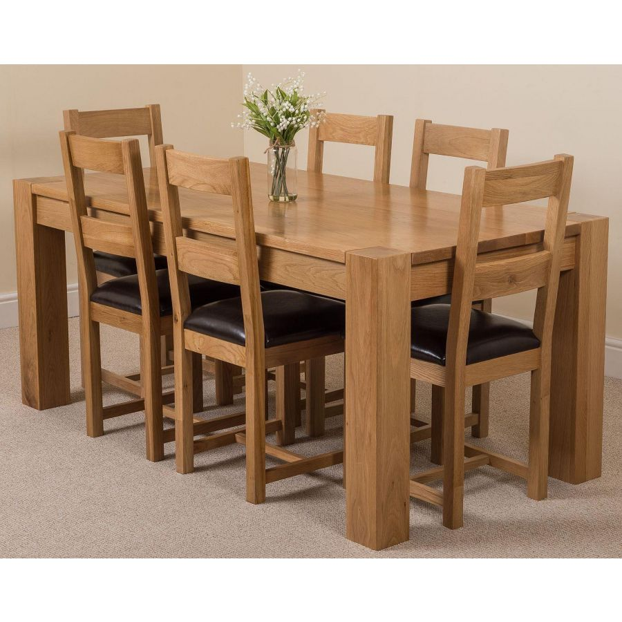 Kuba Large Oak Dining Table With 6 Lincoln Oak Chairs Oak Furniture King