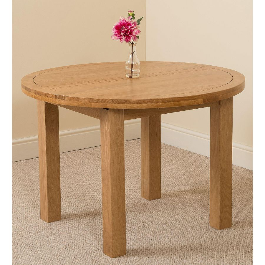 Edmonton 9   9 Seater Solid Oak Extendable Round Dining Table