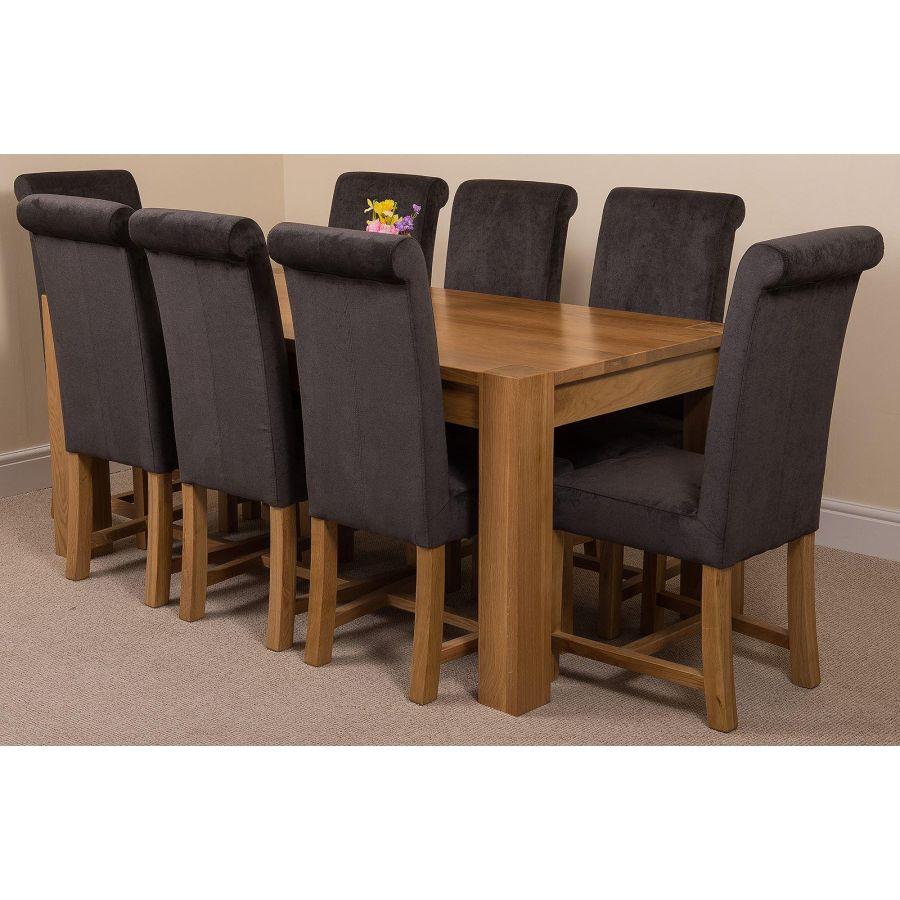 Kuba Large Oak Dining Table With 8 Washington Dark Grey Fabric Chairs Oak Furniture King