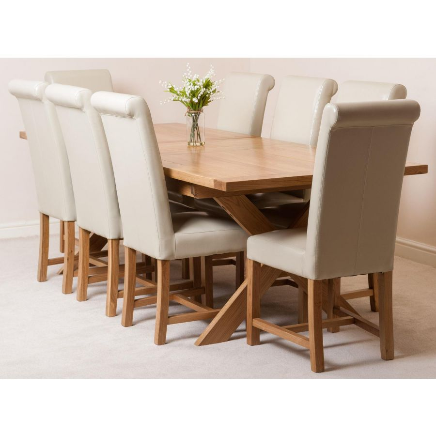 Superb Vermont Solid Oak 200Cm 240Cm Crossed Leg Extending Dining Table With 8 Washington Dining Chairs Ivory Leather Gmtry Best Dining Table And Chair Ideas Images Gmtryco