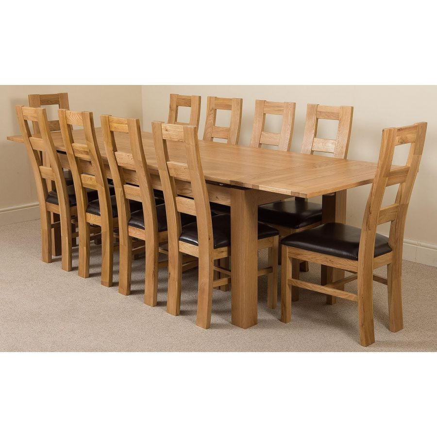 Richmond Large Oak Extending Dining Table with 9 Yale Oak Dining Chairs