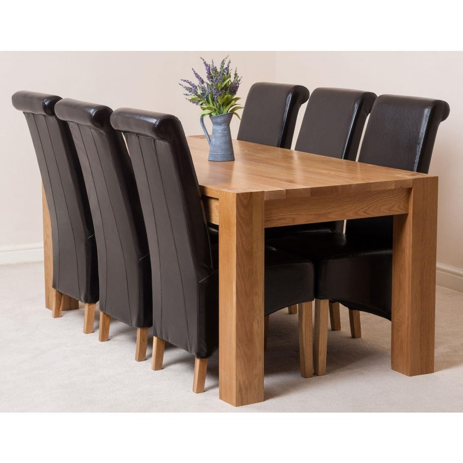 Kuba Large Oak Dining Table with 9 Montana Brown Leather Chairs