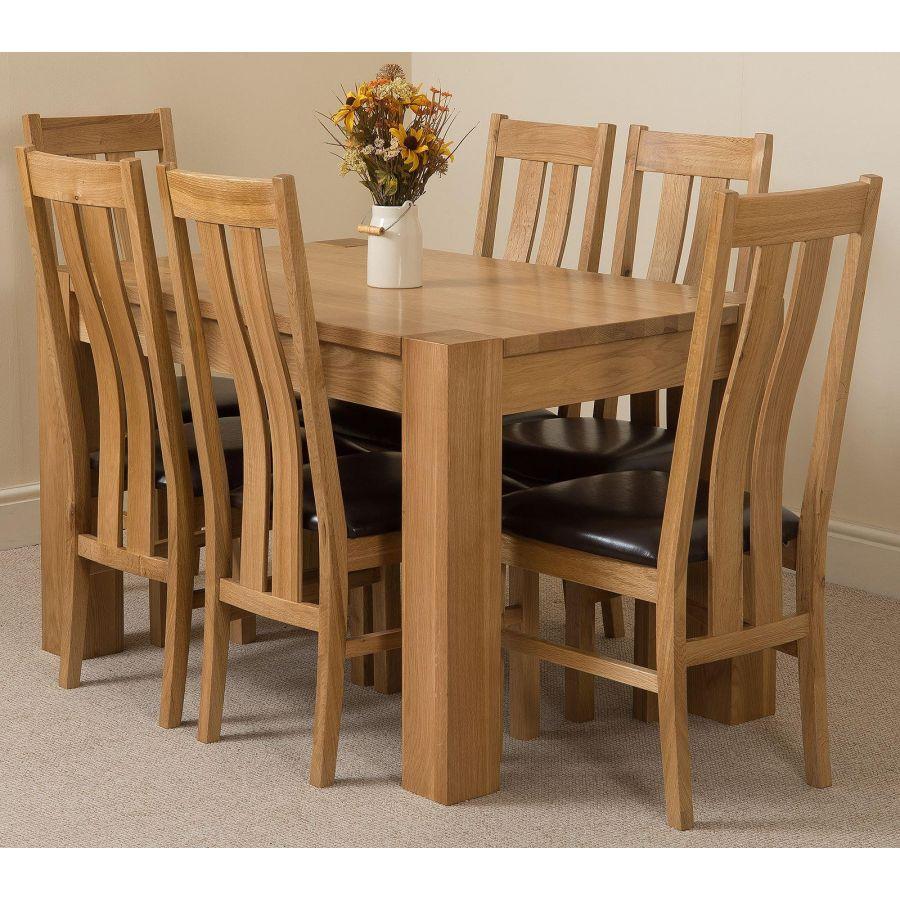 Kuba Oak Dining Set 125cm 6 Princeton Chairs