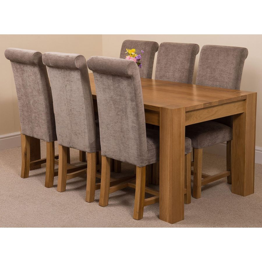 Kuba Large Oak Dining Table With 6 Washington Grey Fabric Chairs Oak Furniture King
