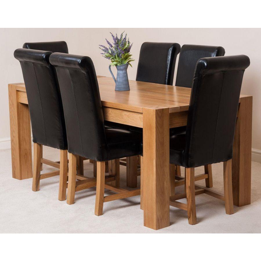 Kuba Large Oak Dining Table With 6 Washington Black Leather Chairs Oak Furniture King