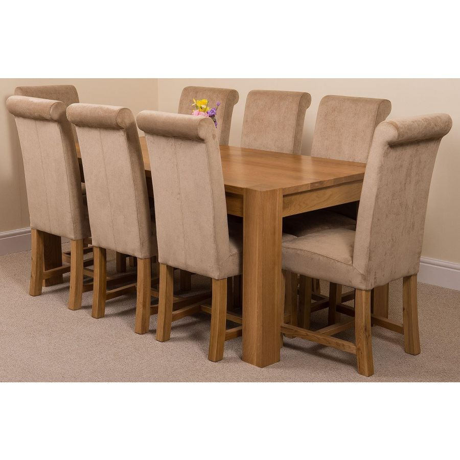 Kuba Large Oak Dining Table With 8 Washington Beige Fabric Chairs Oak Furniture King