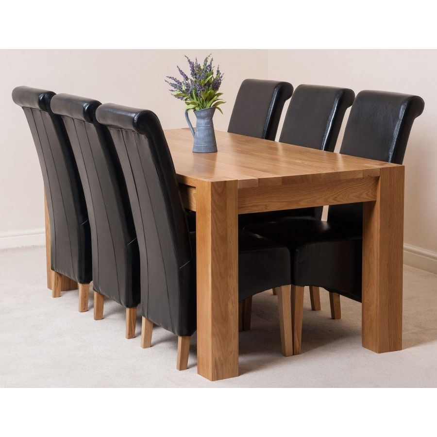 Kuba Large Oak Dining Table With 6 Montana Black Leather Chairs Oak Furniture King