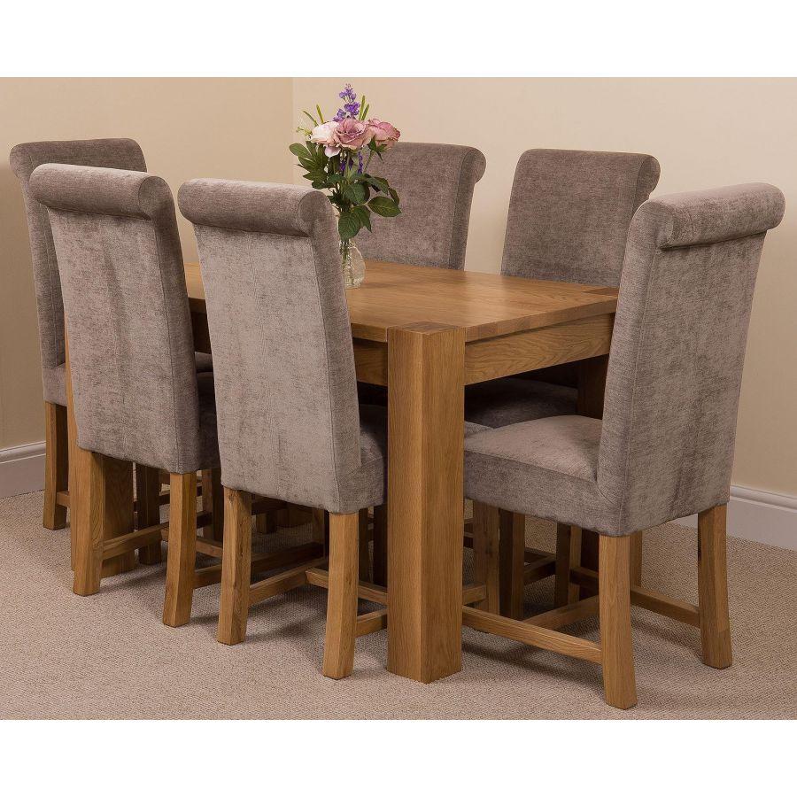 Kuba Oak Dining Set 125cm 6 Grey Chairs