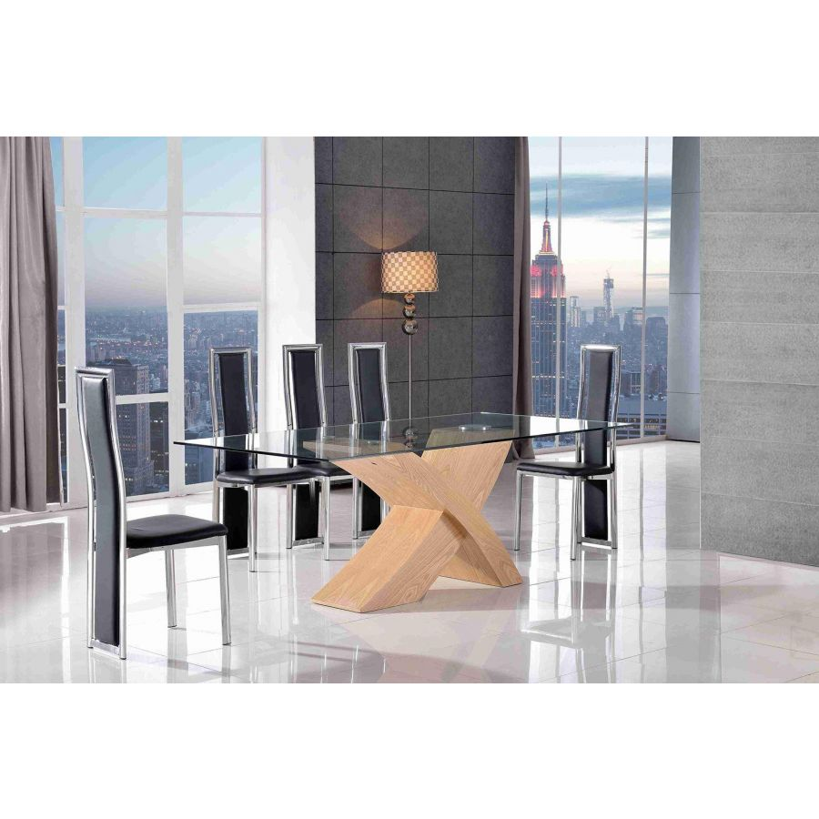 Valencia Oak Small Glass Dining Table 6 Elsa Black Leather Chairs