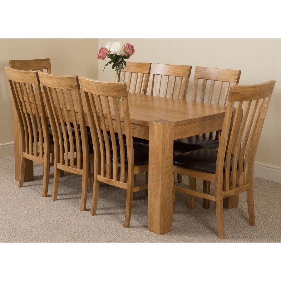 Kuba Large Oak Dining Table with 9 Harvard Oak Chairs