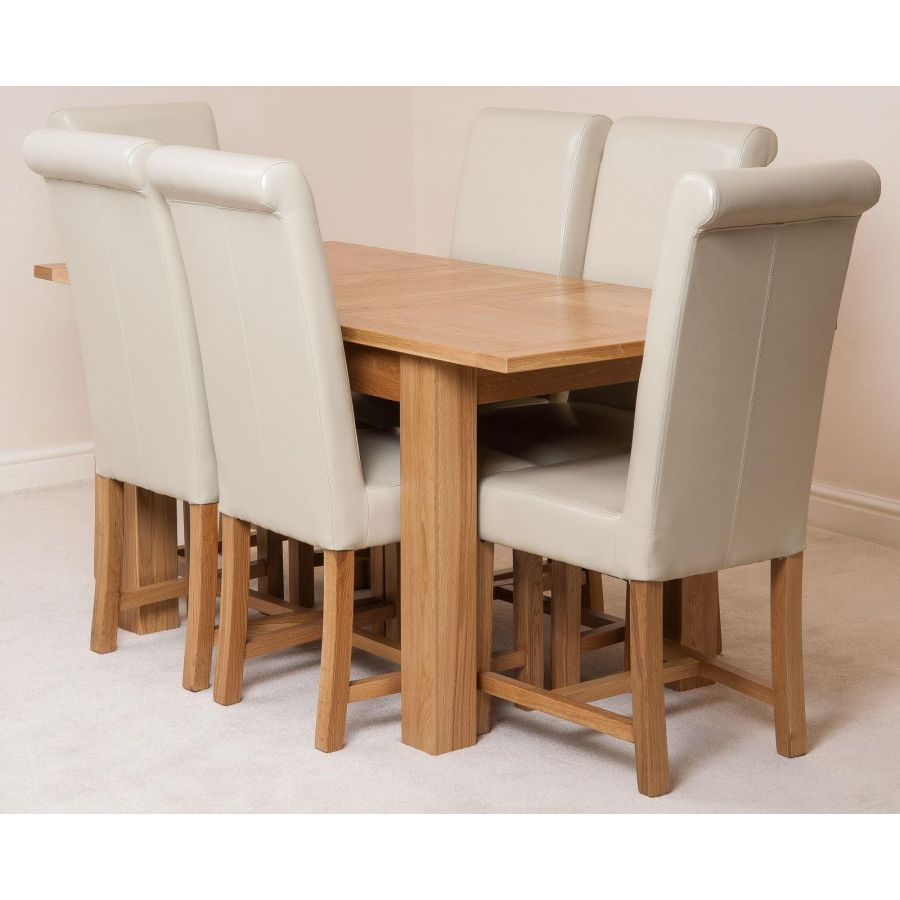 Hampton Dining Set With 6 Ivory Chairs Oak Furniture King