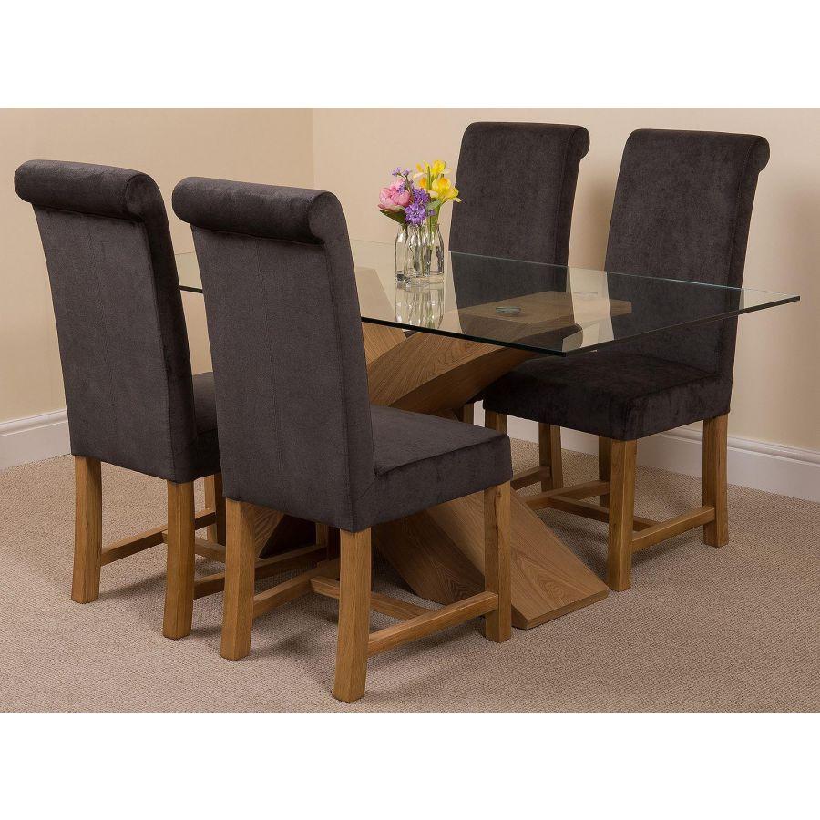 Valencia Oak Small Glass Dining Table 4 Washington Dark Grey Fabric Chairs