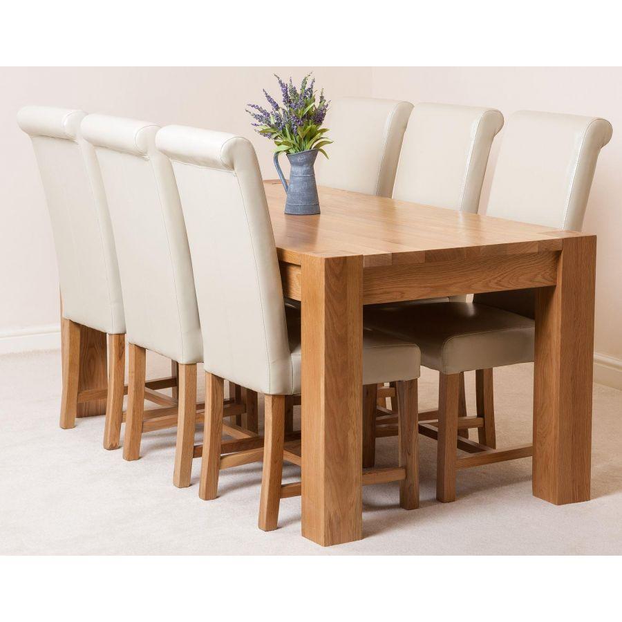 Kuba Large Oak Dining Table with 9 Washington Ivory Leather Chairs