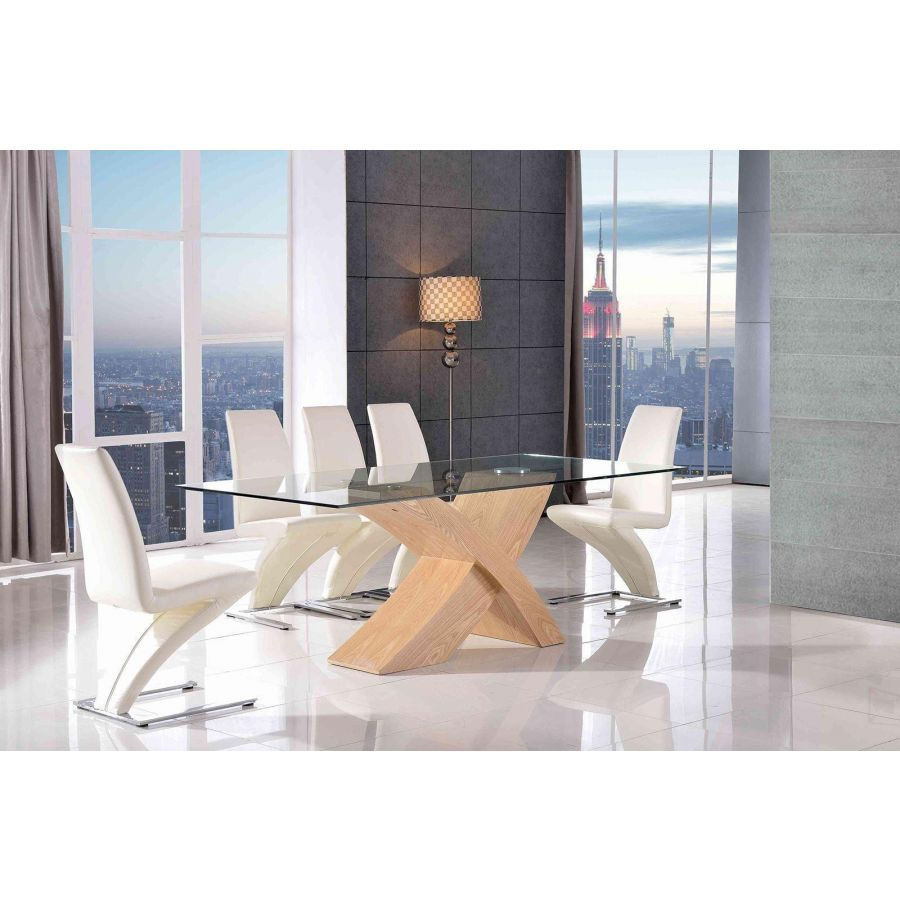 Valencia Oak Small Glass Dining Table 6 Zed Ivory Leather Chairs