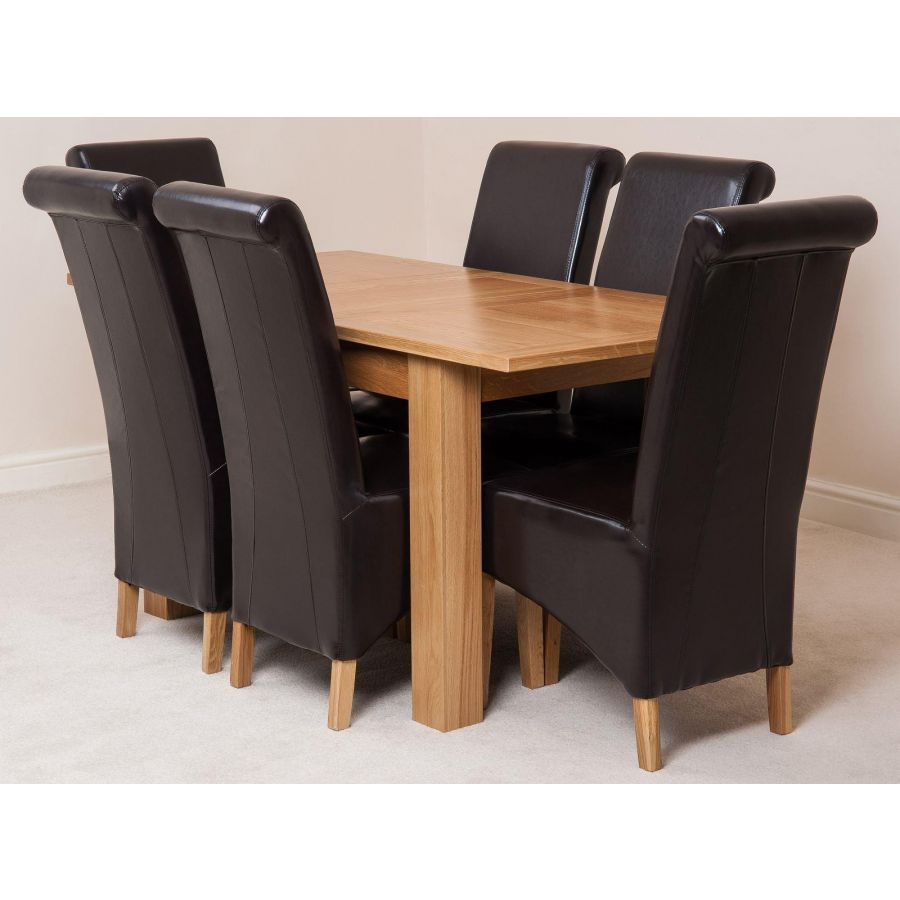 Hampton Dining Set With 9 Brown Chairs   Oak Furniture King
