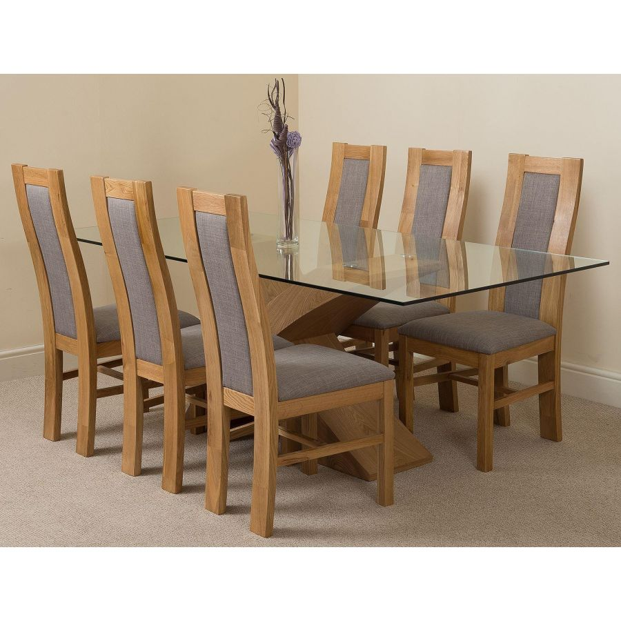 Valencia Oak Large Glass Dining Table & 9 Stanford Oak Chairs