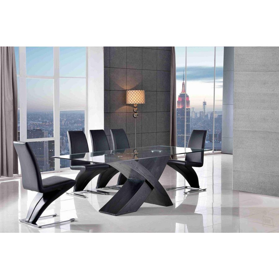 Small Dining Table Set For 4, Valencia Black Small Glass Dining Table 4 Zed Black Leather Chairs