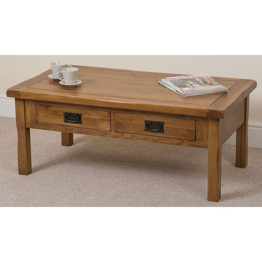 Cotswold Rustic Solid Oak Coffee Table 4 Drawer