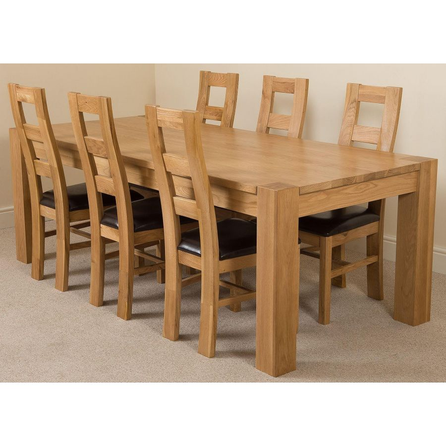 7ft Chunky Solid Oak Dining Table And 10 Chairs Kuba 10 Seater Dining Table And Chairs 220 X 100 Cm Large Oak Dining Set With 10 Brown Lincoln Oak Chairs By Oak Furniture King