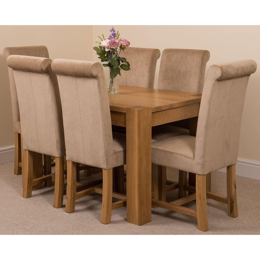 Kuba Oak Dining Set 125cm 6 Beige Chairs