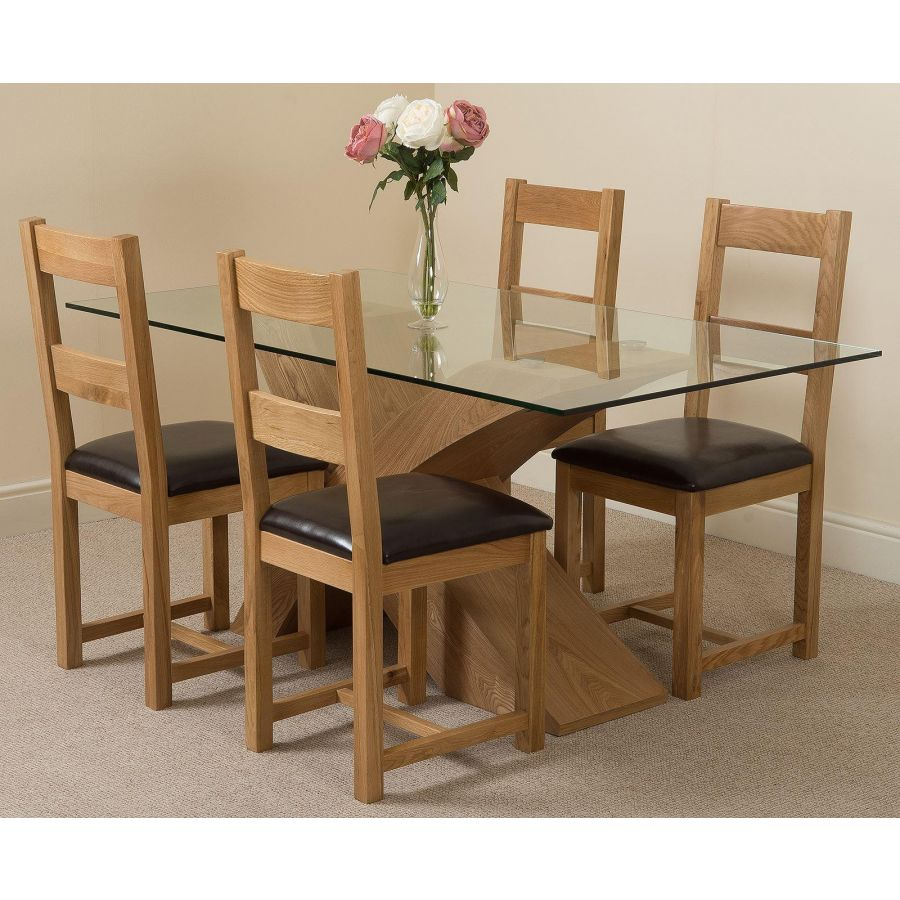 Valencia Oak Small Glass Dining Table 4 Lincoln Oak Chairs