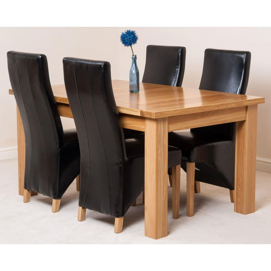 Seattle Dining Set With 4 Black Chairs Oak Furniture King