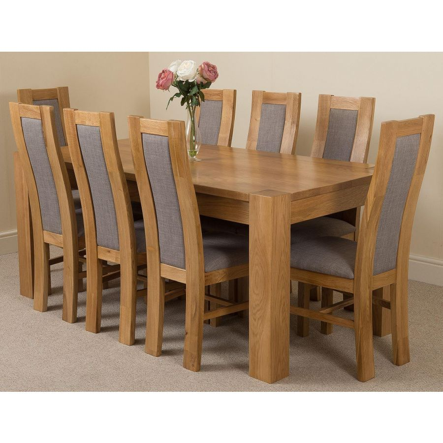 Kuba Large Oak Dining Table With 8 Stanford Oak Chairs Oak Furniture King