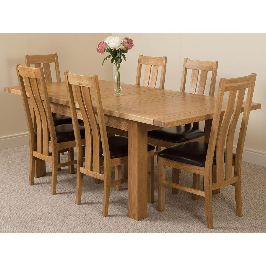 Seattle Oak Extending Dining Table and 9 Princeton Oak Dining Chairs