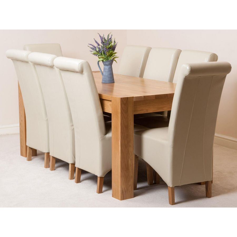 Kuba Large Oak Dining Table With 8 Montana Ivory Leather Chairs Oak Furniture King
