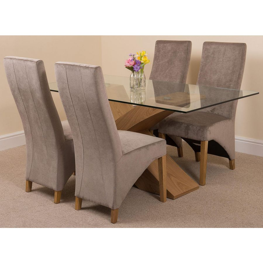Small Dining Table Set For 4, Valencia Oak Small Glass Dining Table 4 Lola Grey Fabric Chairs
