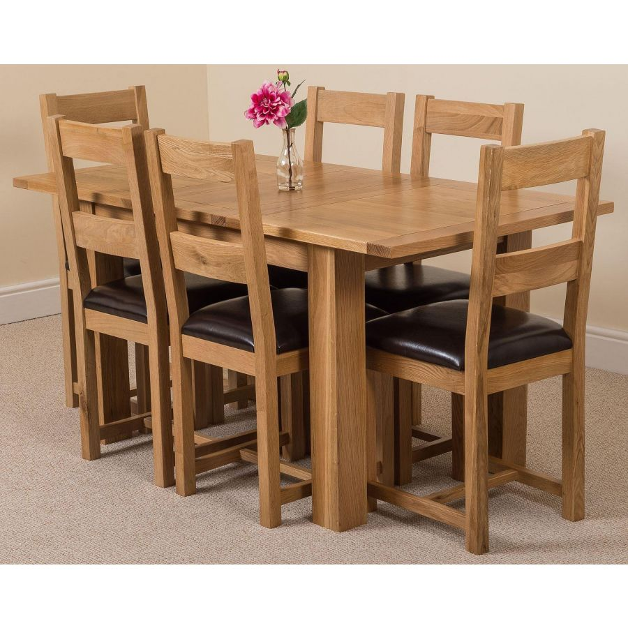 Hampton Small Oak Extending Dining Table with 9 Lincoln Oak Chairs