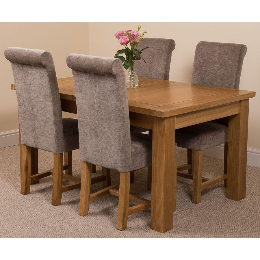 Seattle Dining Set With 4 Grey Chairs Oak Furniture King