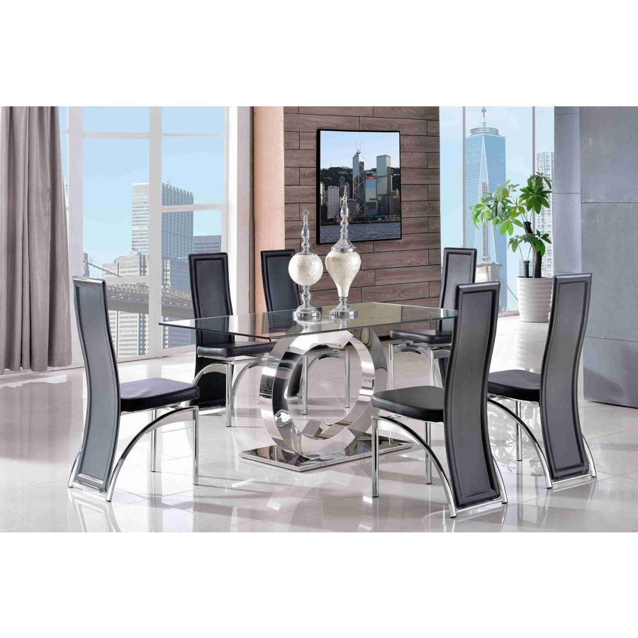 Channel Glass Dining Table 6 Alisa Black Leather Chairs