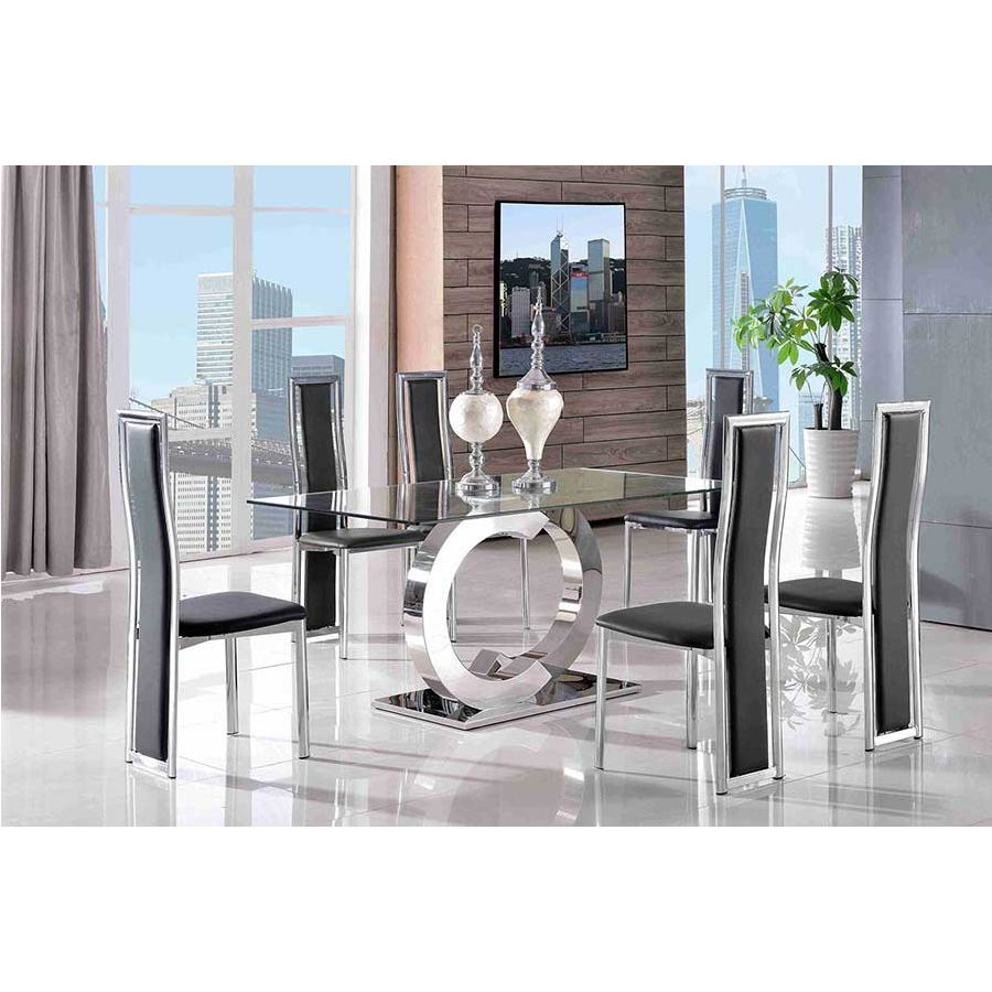 Channel Glass Dining Table 4 Elsa Black Leather Chairs