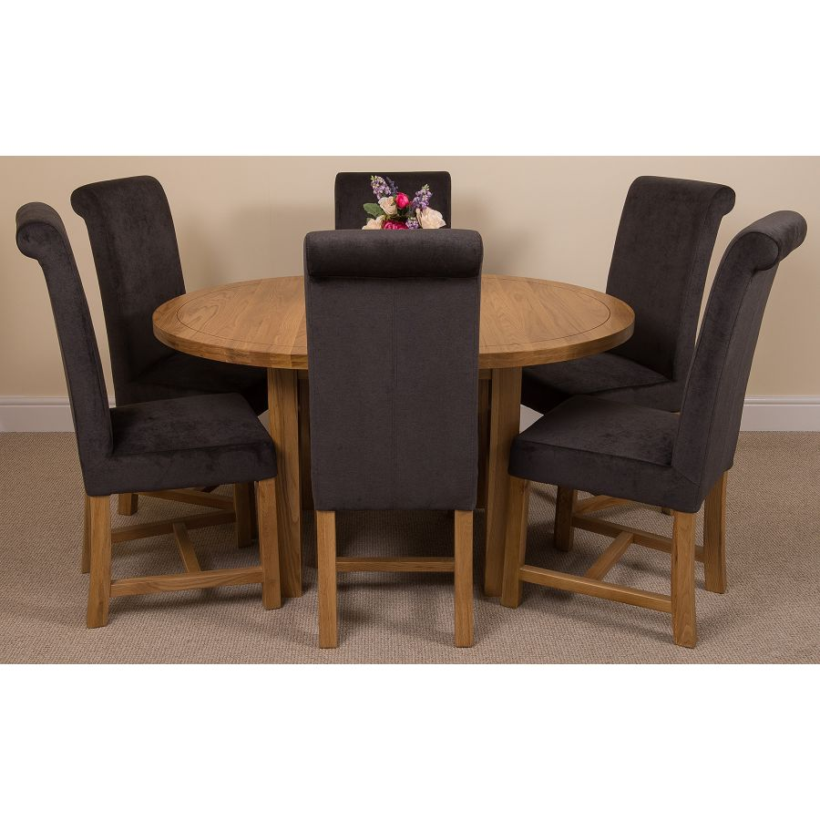 Swell Edmonton Round Oak Dining Set With 6 Washington Dark Grey Fabric Chairs Andrewgaddart Wooden Chair Designs For Living Room Andrewgaddartcom