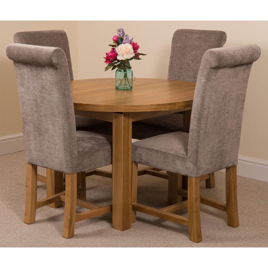Edmonton Round Extendable Oak Dining Set with 9 Washington Grey Fabric  Chairs
